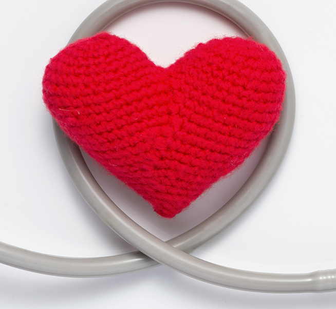 stethescope with a crochet heart